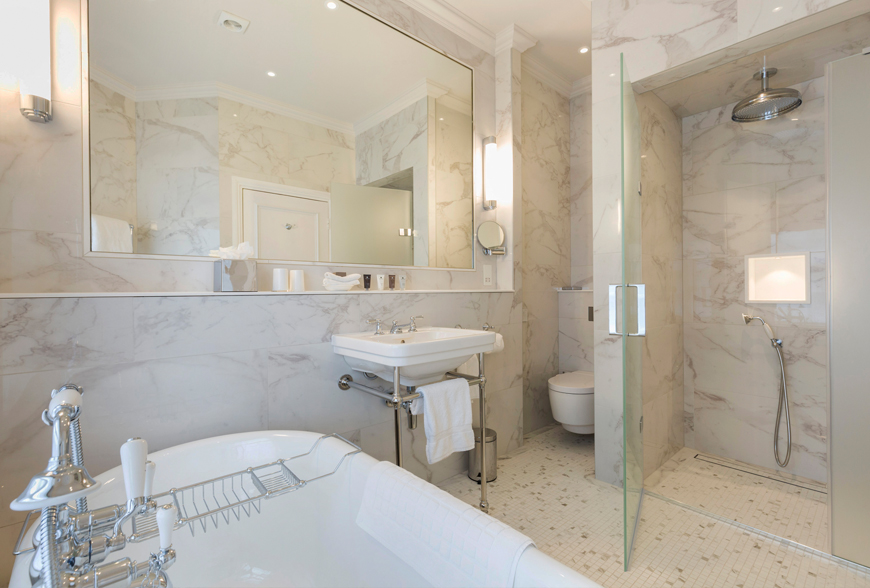 bathroom refurbishment at Devonshire Arms Bolton Abbey by Rachel McLane Ltd
